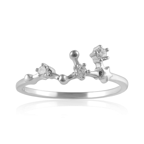 RZ-7173-RH Zodiac Constellation CZ Ring - Rhodium Plated - Leo | Teeda