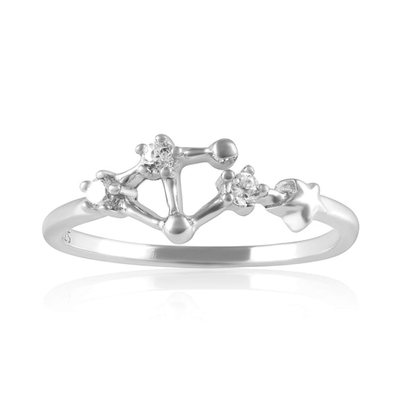 RZ-7173-RH Zodiac Constellation CZ Ring - Rhodium Plated - Libra | Teeda