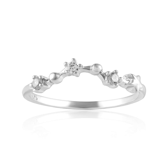 RZ-7173-RH Zodiac Constellation CZ Ring - Rhodium Plated - Pisces | Teeda