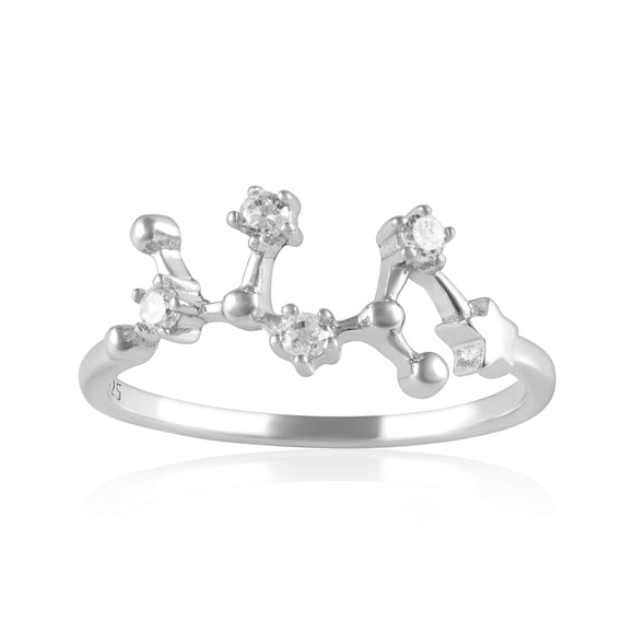 RZ-7173-RH Zodiac Constellation CZ Ring - Rhodium Plated - Sagittarius | Teeda