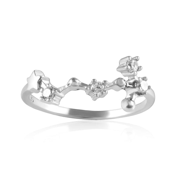 RZ-7173-RH Zodiac Constellation CZ Ring - Rhodium Plated - Scorpio | Teeda