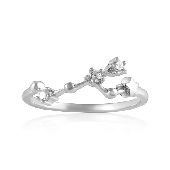 RZ-7173-RH Zodiac Constellation CZ Ring - Rhodium Plated - Taurus | Teeda
