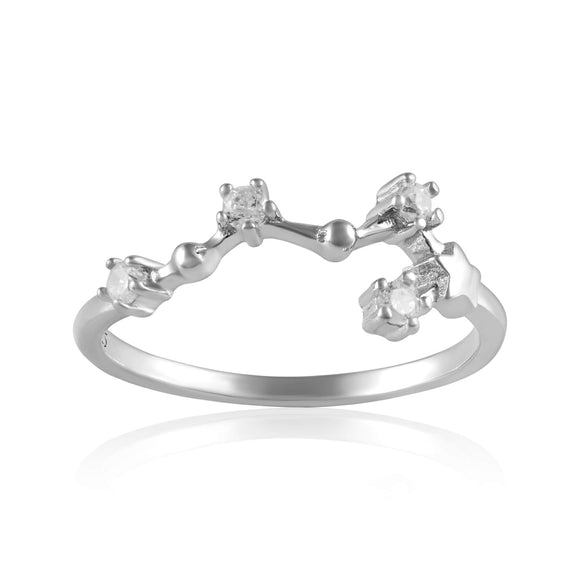 RZ-7173-RH Zodiac Constellation CZ Ring - Rhodium Plated - Virgo | Teeda