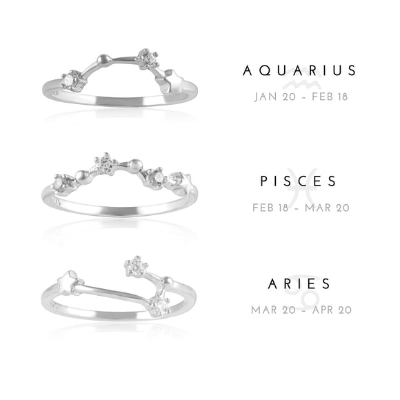 RZ-7173-RH Zodiac Constellation CZ Ring - Rhodium Plated