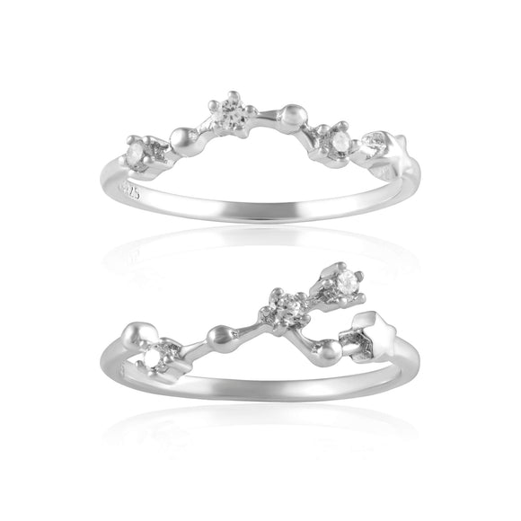 RZ-7173-RH Zodiac Constellation CZ Ring - Rhodium Plated | Teeda