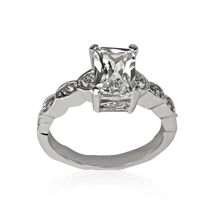 RZ-8022 Emerald Cut CZ Ring | Teeda
