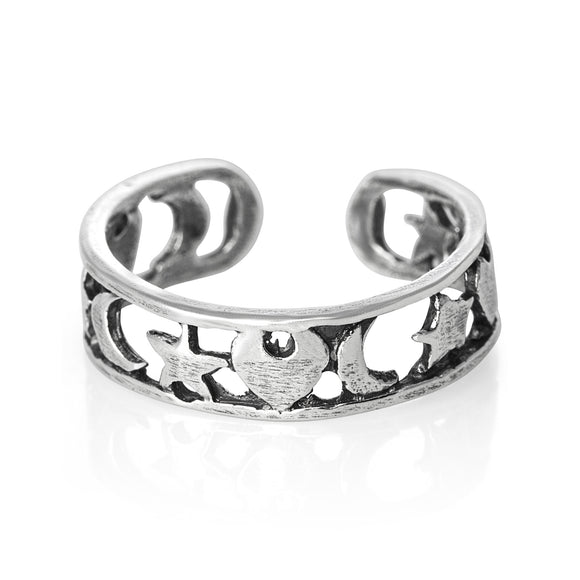 TR-1090 Heart Star Moon Toe Ring | Teeda