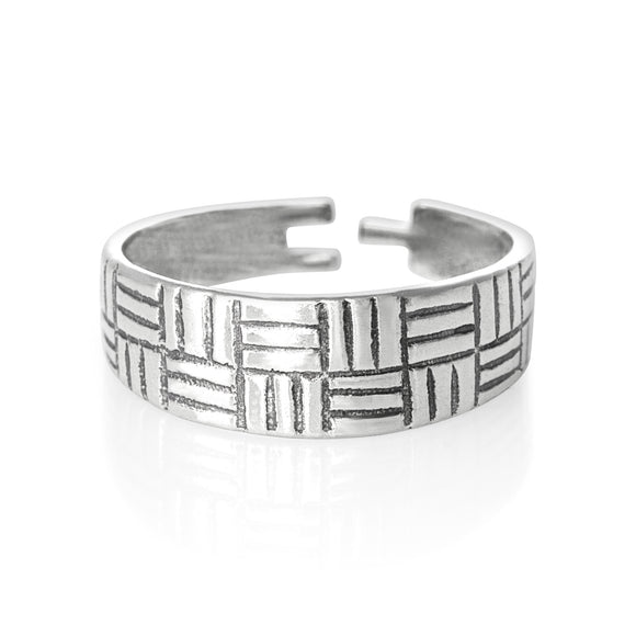 TR-1210 Striped Tiles Toe Ring | Teeda