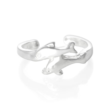 TR-2065 Swimming Dolphins Toe Ring | Teeda
