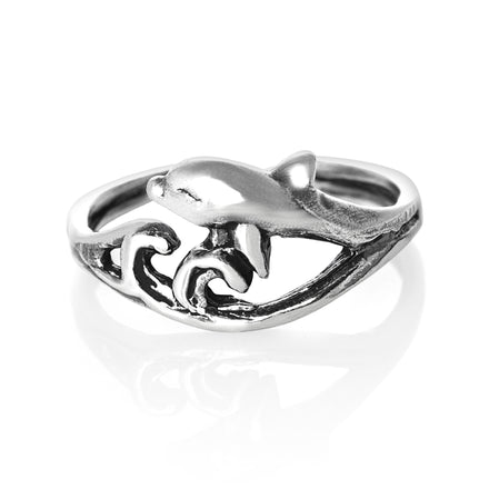 TR-2110 Surf Riding Dolphin Toe Ring | Teeda