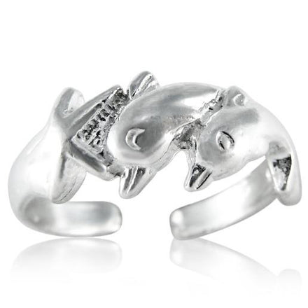 TR-2200 Dolphins and Starfish Toe Ring | Teeda