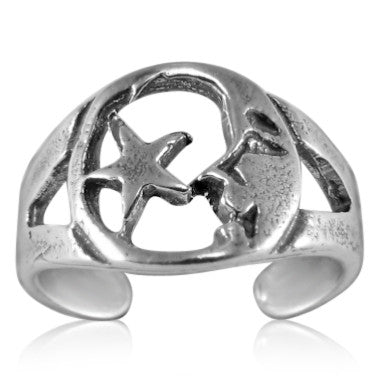 TR-2540 Man in the Moon and Star Toe Ring | Teeda
