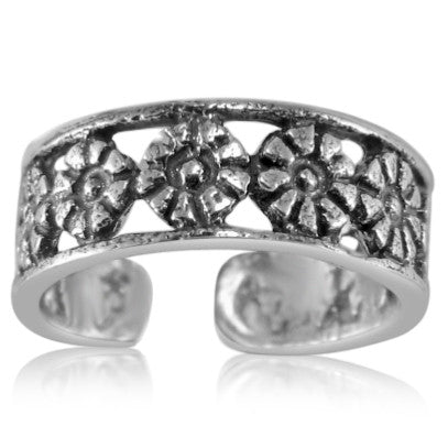 TR-2680 Row of Flowers Toe Ring | Teeda