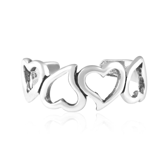 TR-3014 Open Hearts Lg Toe Ring | Teeda