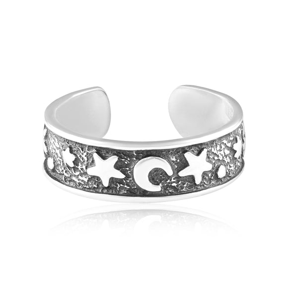TR-3054 Moon And Star Toe Ring | Teeda