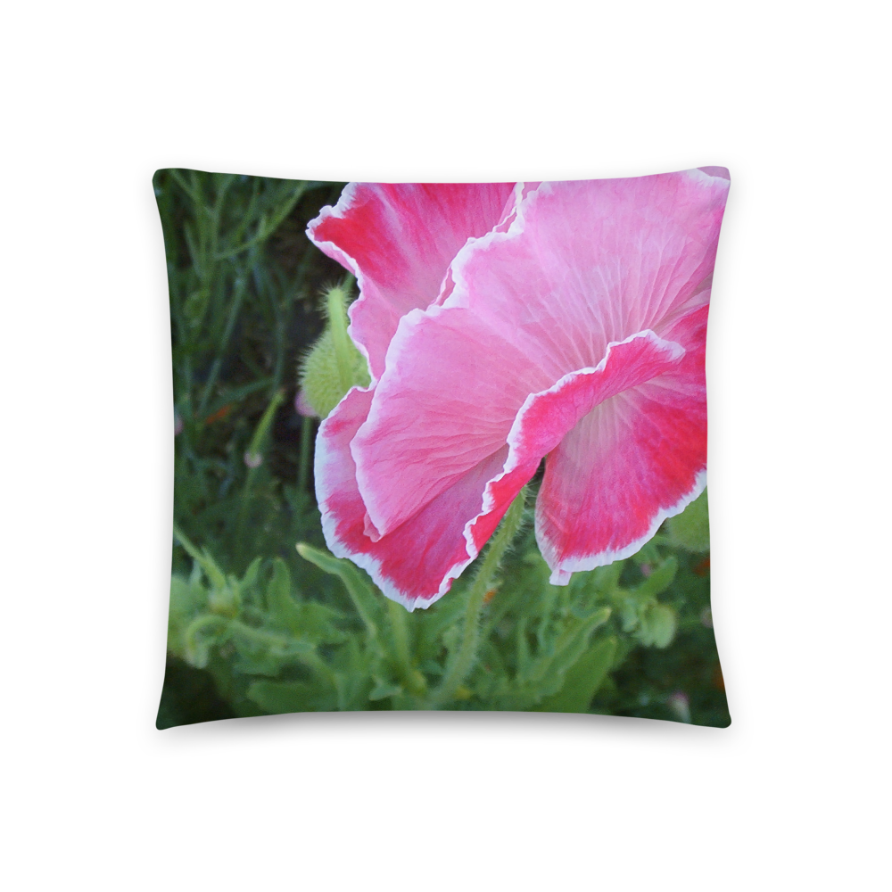 PINK AND WHITE POPPY PILLOW