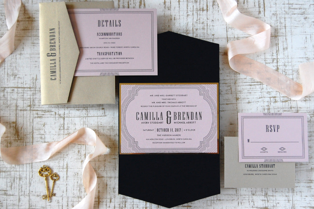 Pink black and gold glamorous invitation suite