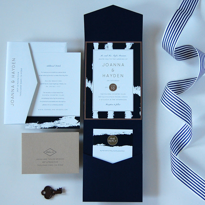 Navy wedding invitations with paintbrush strokes