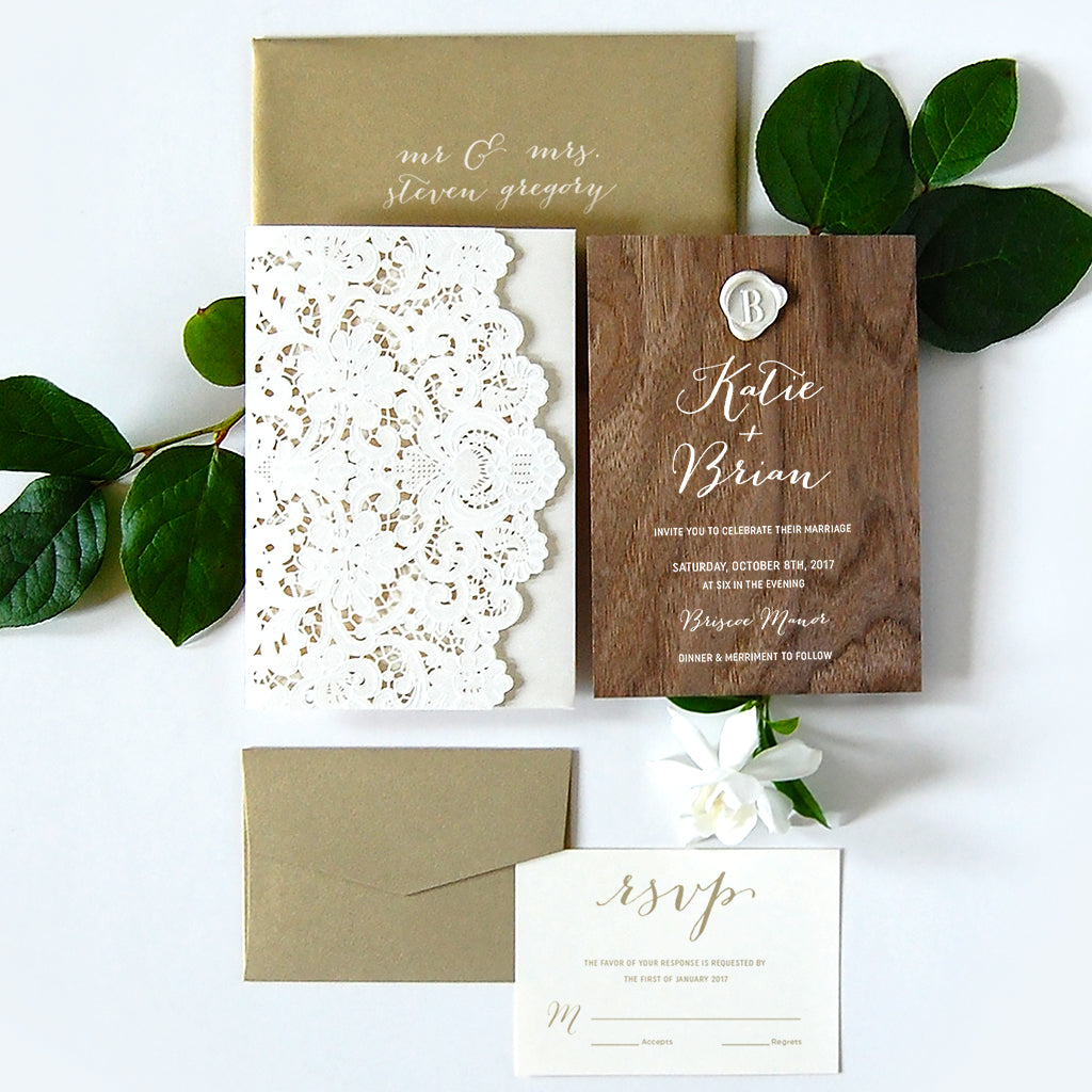 Real Wood Paper Wedding Invitations