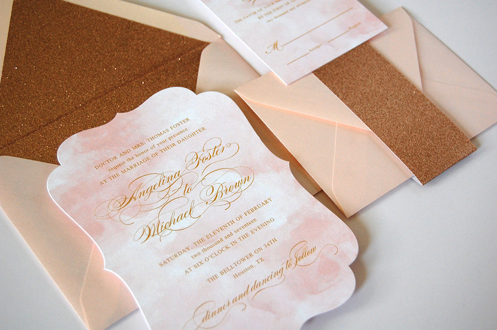 Blush and Rose Gold Watercolor Invitation