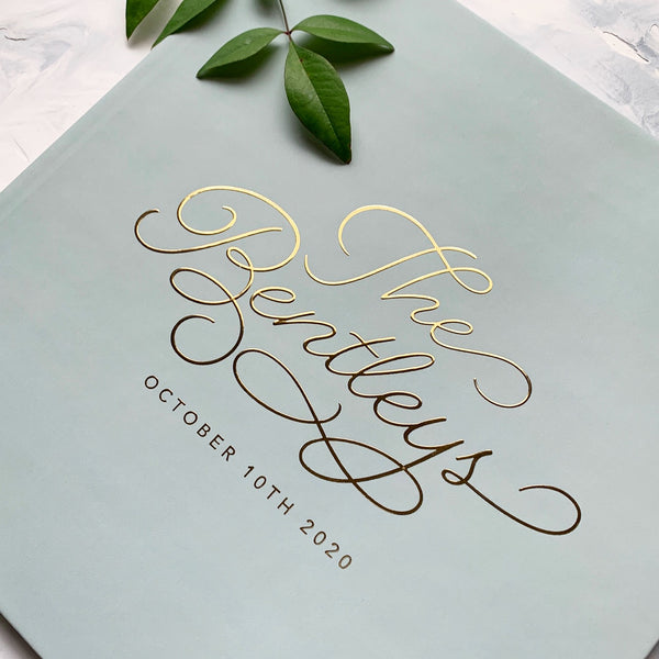 Sage Green Wedding Guest Book with Gold Foil