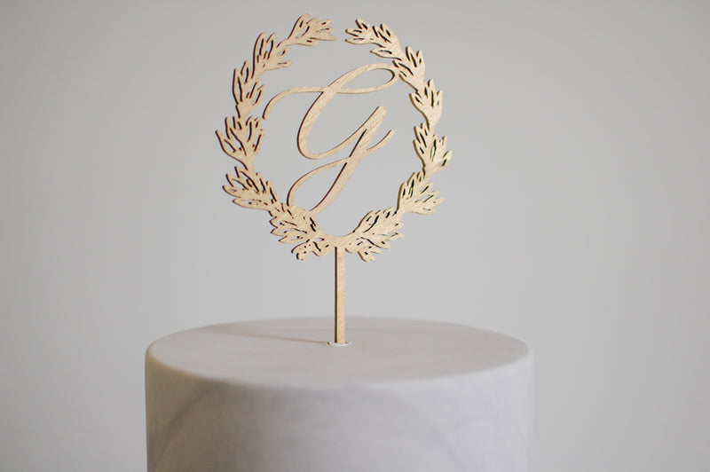 Personalized Monogram Wreath Cake Topper