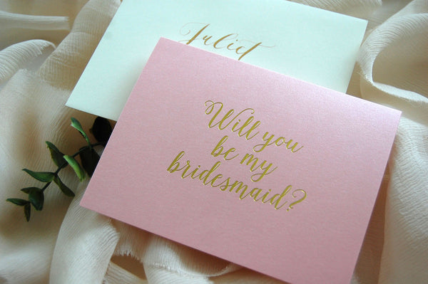 Pink and Gold Foil Maid of Honor - Bridesmaid Card