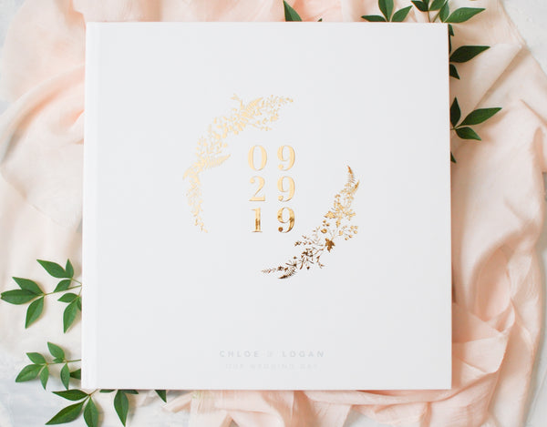 Gold Foil Botanical Wedding Guest Book