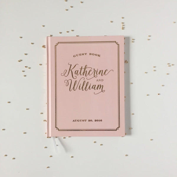 Blush and Real Gold Foil Wedding Guest Book