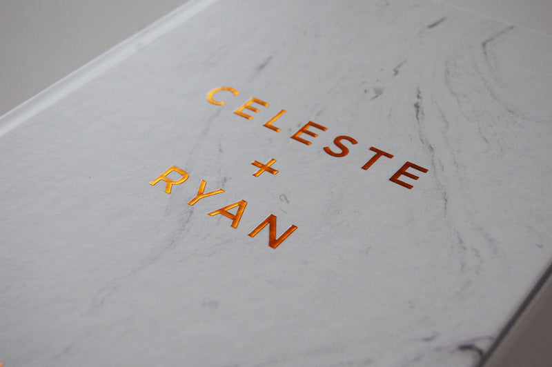 Marble and Real Copper Foil Wedding Guest Book