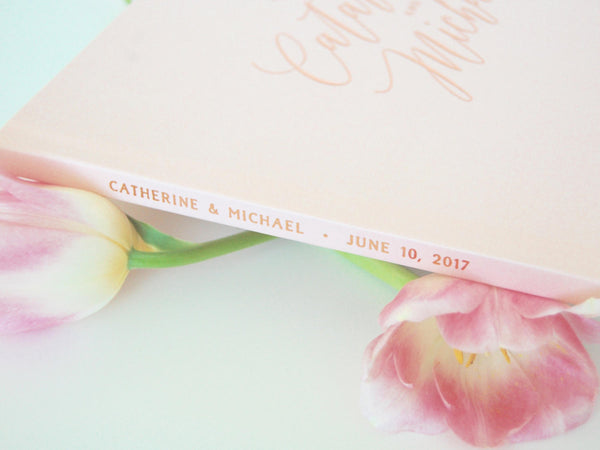 Landscape Style Rose Gold Foil and Pale Blush Wedding Guest Book