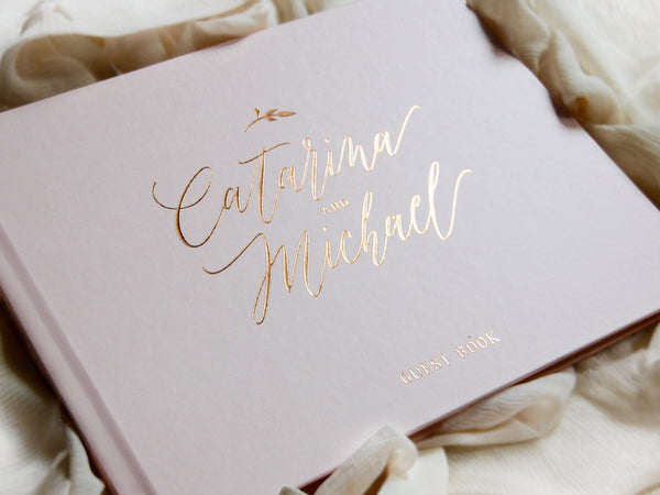 Rose Gold Foil and Pale Blush Wedding Guest Book