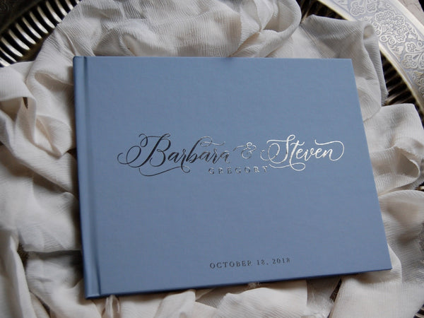 Wedding Guest Book Dusty Blue