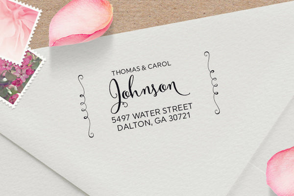 Calligraphy Address Stamp with Flourishes