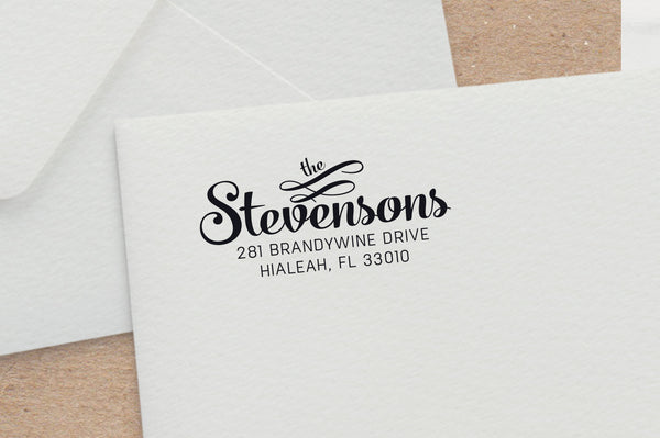 Bold Script Address Stamp with Ornaments