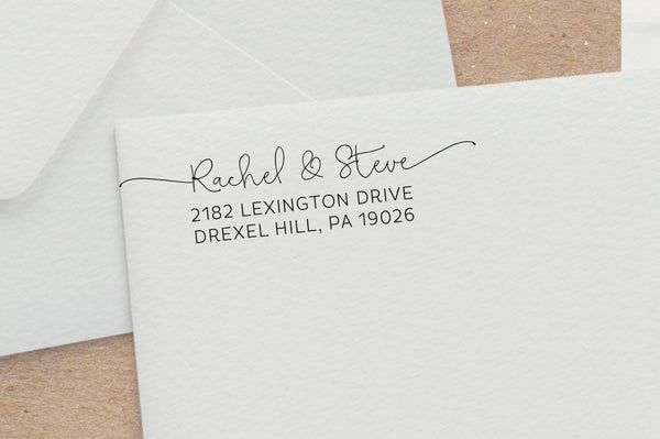 Hand-drawn Script Address Stamp with Swashes