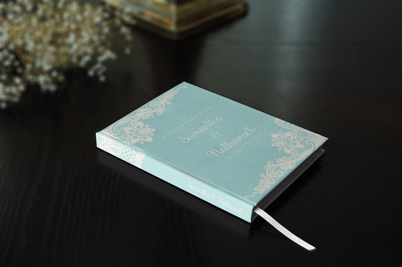 Personalized Teal Wedding Guest Book