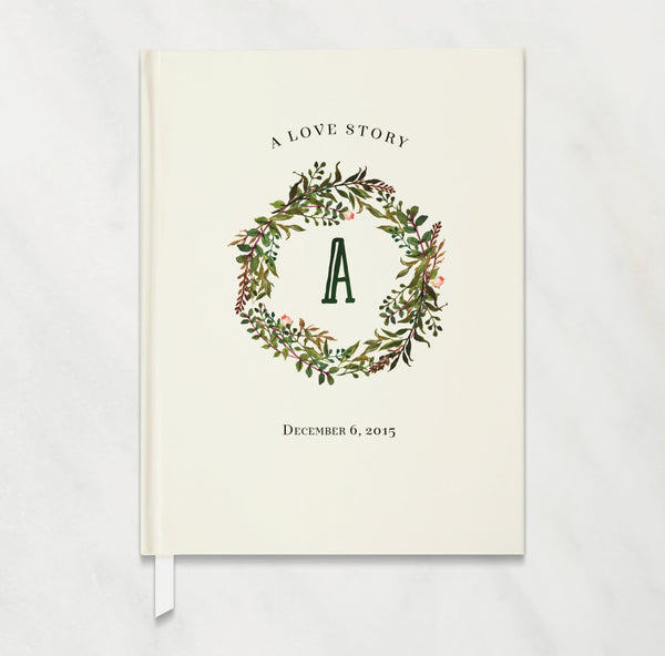 Green and Ivory Personalized Wedding Guest Book