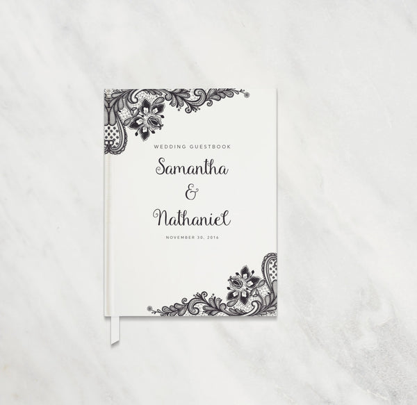 Personalized Lace Wedding Guest Book
