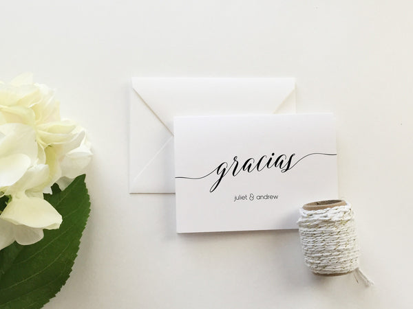 Gracias Wedding Thank You Cards (set of 10)