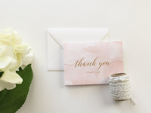 Blush Pink Watercolor Thank You Cards (set of 10)