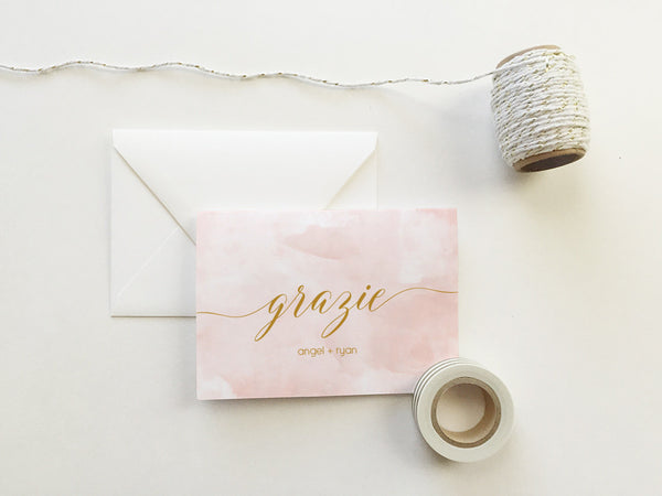 Blush Pink Watercolor Grazie Cards (set of 10)