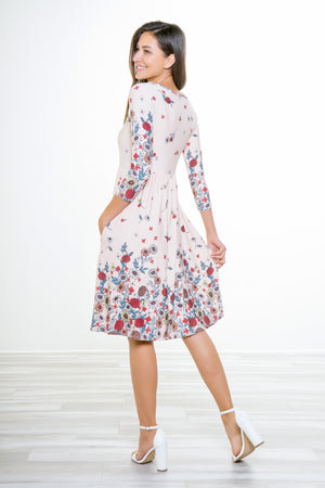 Georgina Ivory Floral Pocket Long-Sleeve Dress