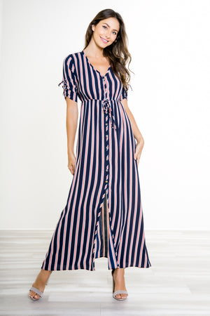 Savannah Navy Stripe Button-Up Maxi Dress