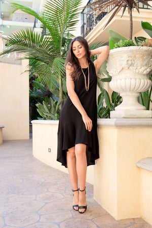 Vivi Ruffled Black Sleeveless Hi-Low Dress