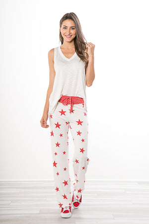 Stars Ivory/Red Lounge Pants