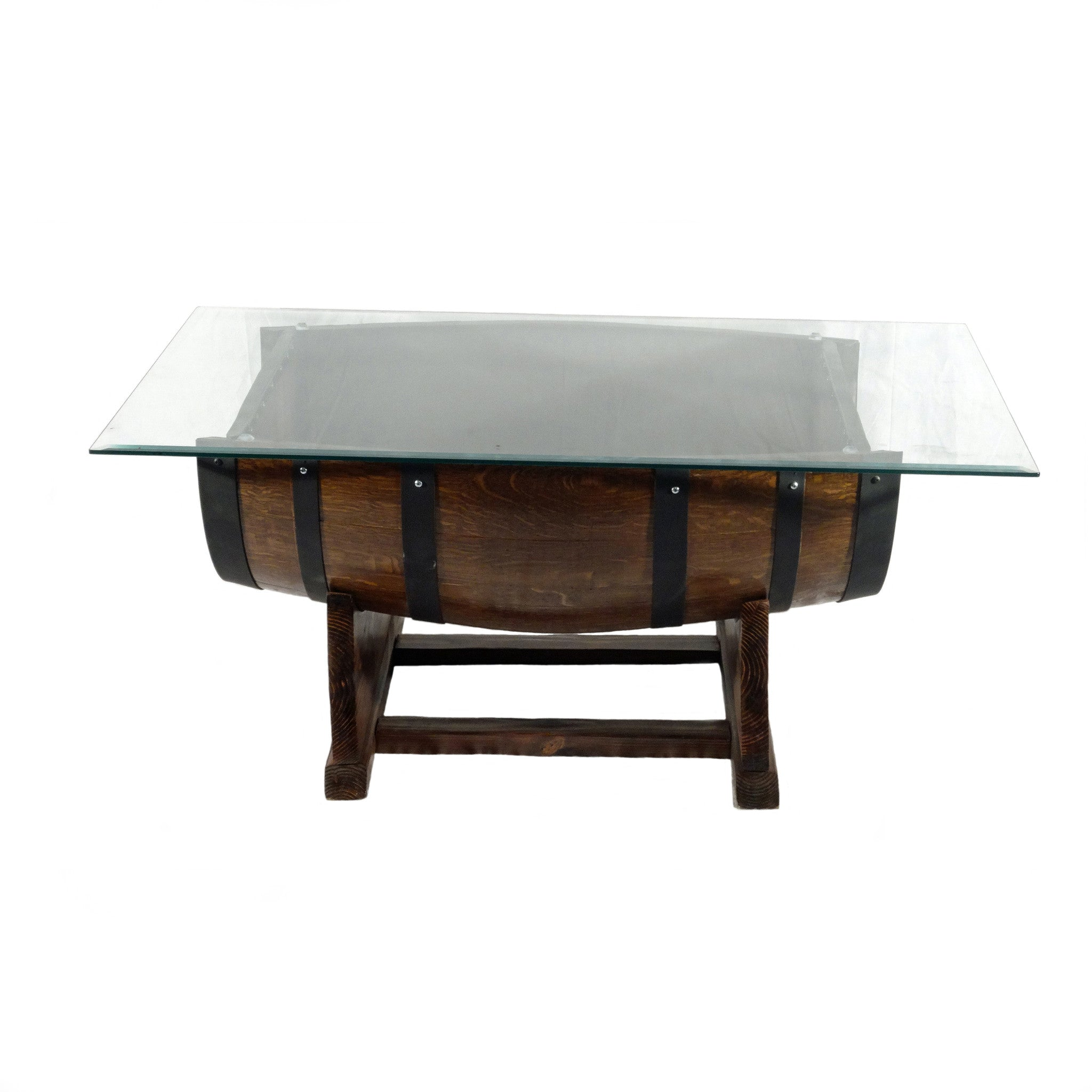 Wine Barrel Coffee Table with Glass Top J&C s Unbarrelables