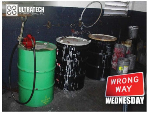 catch nasty spills / spill containment in warehouse for 55 gallon drums