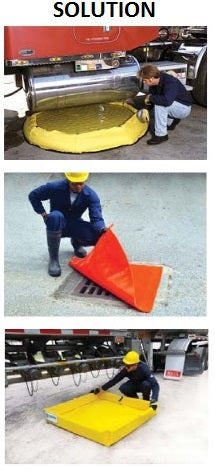 Pop up pool and drain guard for chemical hazardous gasoline spills