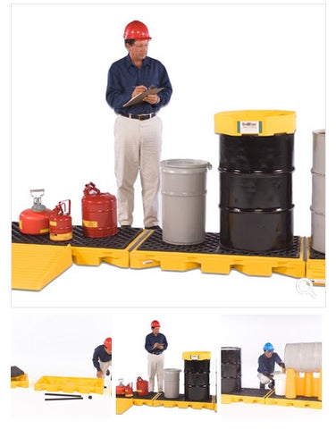 Spill Decks by Ultratech to contain 55 gallon drum spills and leaks